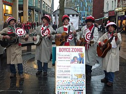 Click for pictures of Boycezone, singing at St Davids 2 before the Wales - Argentina rugby international in Cardiff.
