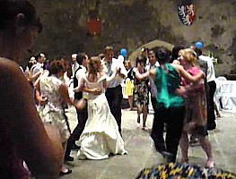 Last dance and polka at a Caerphilly Castle wedding ceilidh.