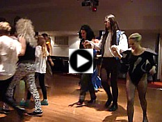 "Click for video - ""Dawns Harlech"" -  at a Glam Rock fancy dress birthday barn dance with music from Pluck & Squeeze."