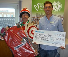Handing over a Wales shirt and collection toVelindre Cancer Centre