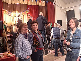 The band playing for Gwen's birthday barndance in Gavin & Stacey.